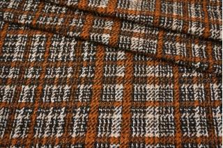 Трикотаж шерстяной в клетку рыже-коричневый NST-W40  09102137