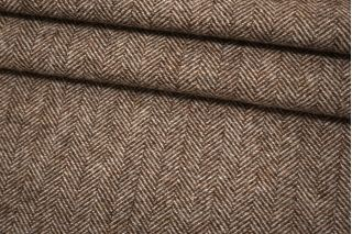Твид костюмный в елочку коричневый BRS 12102128