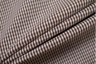 Хлопок рубашечно-плательный в клетку бело-коричневый BRS-B60 14022133