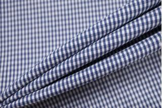 Хлопок рубашечно-плательный в клетку бело-синий BRS-G4 14022136