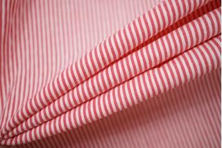 Хлопок рубашечный сирсакер в полоску красно-белый BRS-A70 14022139