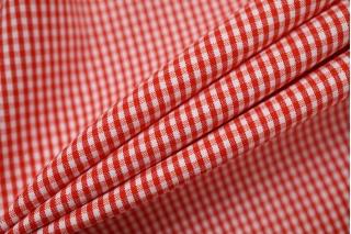 Хлопок рубашечно-плательный в клетку бело-красный BRS-G4 14022142