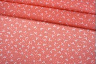 Батист птицы и горошек на розовом фоне IDT-A40 25032109