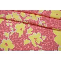 Штапель тонкий желтые цветы на розовом фоне IDT-H3 25032157