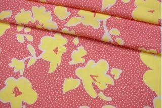 Штапель тонкий желтые цветы на розовом фоне IDT-i57 25032157