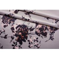 Плательная поливискоза атласная цветы на жемчужно-сиреневом фоне NST-C40 26022189