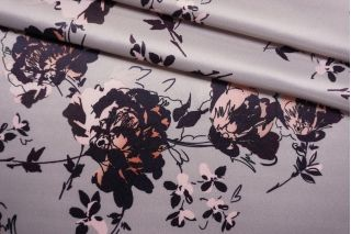 Плательная поливискоза атласная цветы на жемчужно-сиреневом фоне NST-G7 26022189