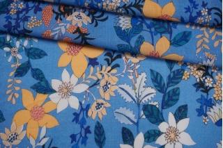 Марлевка голубая с цветами FRM-T2 27022105