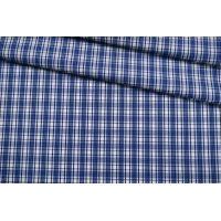 Хлопок рубашечный в клетку синий FRM-B50 27022113