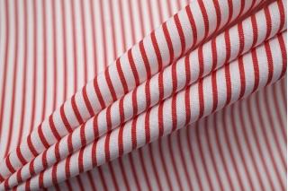 Поплин рубашечный в полоску красно-белый FRM-A70 27022116