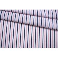 Поплин рубашечный в полоску сине-розовую FRM-G4 27022119
