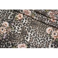 ОТРЕЗ 0,9 М Футер цветочно-леопардовый бежевый 2-х нитка IDT-(57)- 28042133-2
