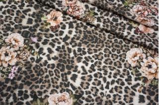 Футер цветочно-леопардовый бежевый 2-х нитка IDT-S30 28042133