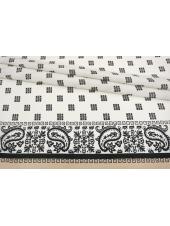 Крепдешин тонкий орнамент черно-белый с пудрой КУПОН SVM-M50 03052103