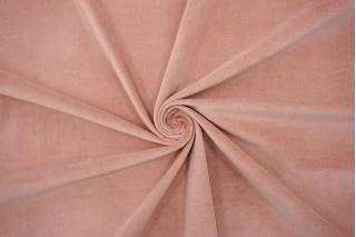 Костюмный велюр-стрейч хлопковый пыльно-розовый BRS-L30- 05062135