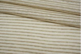 Трикотаж льняной в полоску бело-бежевый NST-X30 07062101