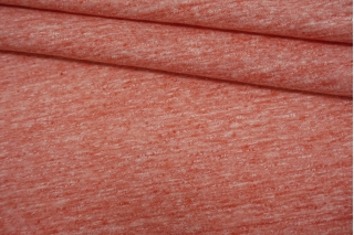 Трикотаж льняной с хлопком розово-коралловый меланж NST-O70 07062103
