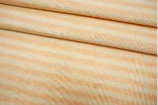 Трикотаж льняной в полоску персиково-молочный NST-X30 07062114