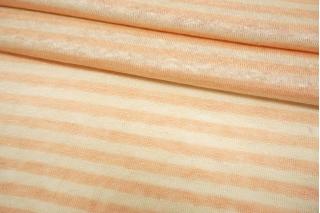 Трикотаж льняной в полоску персиково-молочный двусторонний NST-X30 07062115