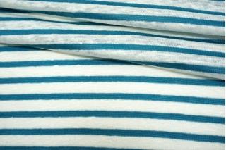 Трикотаж льняной в полоску бело-бирюзовый NST-O50 07062117