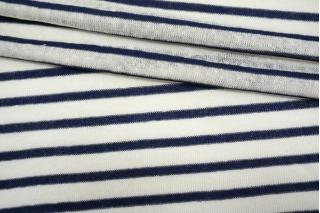 Трикотаж льняной в полоску сине-белый NST-X50 07062119