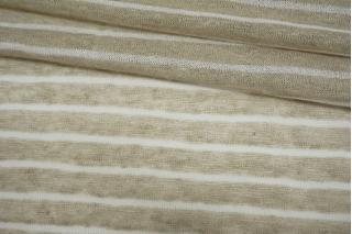 Трикотаж льняной в полоску бело-бежевый NST-X40 07062121