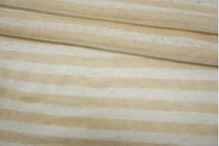 Трикотаж льняной в полоску бело-песочный NST-X40 07062123