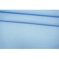 Поплин рубашечный белые горошки на голубом-A60 07072130