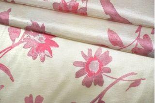 Атлас розовые цветы на кремовом фоне TRC-H50 30052107