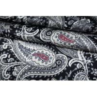 Сатин шелковый блузочный серо-синий пейсли TRC-M50 30052135