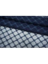 Шифон шелковый-креш с шитьем синий TRC-N30 30052136