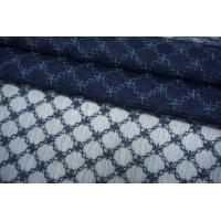 Шифон шелковый-креш с шитьем синий TRC-O50 30052136