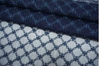 Шифон шелковый-креш с шитьем синий TRC-M40 30052136