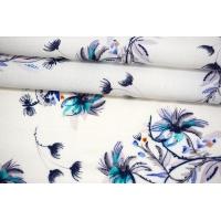 Вискоза жаккардовая цветы на белом фоне MII-J50 04082111