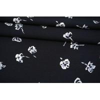 Вискоза жаккардовая цветы на черно-синем фоне MII-J50 04082112