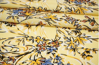 Вискоза жаккардовая цветы на желтом фоне MII-J50 04082113