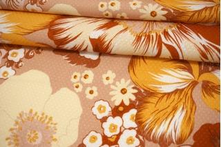Вискоза жаккардовая цветы на бежево-розовом фоне MII-J50 04082115