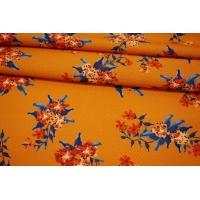 Вискоза жаккардовая цветы на оранжевом фоне MII-J50 04082116