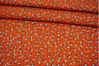 Вискоза жаккардовая цветы на темно-рыжем фоне MII-J50 04082117