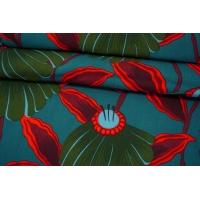 ОТРЕЗ 2,85 М Штапель цветы на темно-бирюзовом фоне MII-(44)- 04082120-1
