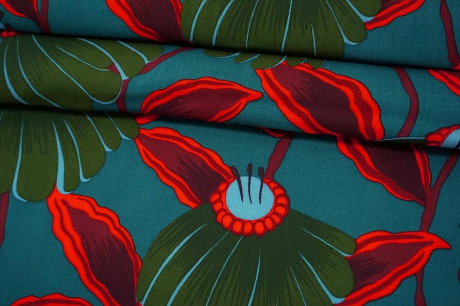 Штапель цветы на темно-бирюзовом фоне MII-I50 04082120