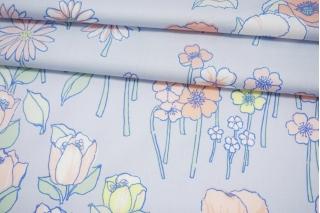 Сатин плательно-блузочный нежные цветы на голубом фоне MII-H50 04082122