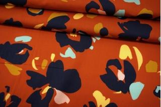 Сатин плательно-рубашечный цветы на темно-рыжем фоне MII-A30 05082107
