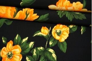 Креповая вискоза крупные желтые цветы на черном фоне MII-H20 05082109