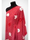 Тонкая кади цветы на ягодно-красном фоне MII-J40 05082111