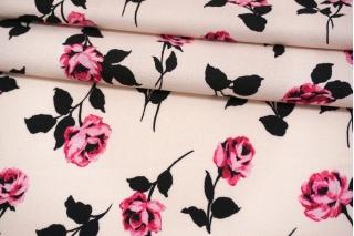 Креп вискозный розы на бледно-розовом фоне MII-H20 05082116