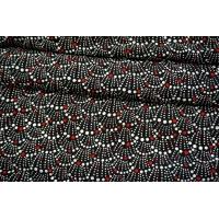 Креповая вискоза кружочки на черном фоне MII-H60 05082120