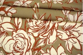Штапель тонкий цветы на оливково-бежевом фоне MII-I50 05082123