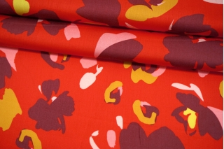 Сатин плательно-рубашечный цветы на красном фоне MII-A30 05082130