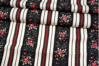 Сатин плательно-блузочный цветы и полоска MII-I50 05082131